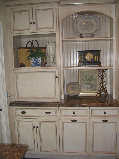 Appliance garage beadboard recycling bins antique glazed for Beadboard kitchen cabinets