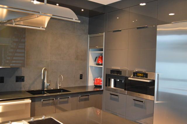 Contemporary Kitchen Appliance Garage Sleek Appliance Garage Contemporary Kitchen Bifold