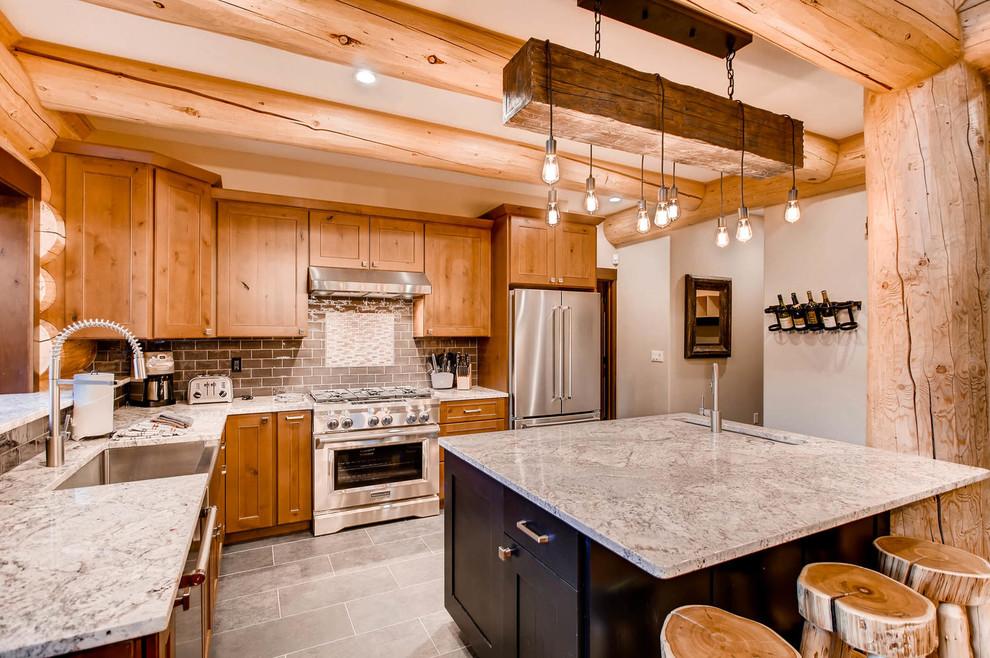 Apre Ski Spruce Log Cabin Rustic Kitchen Denver By Mountain Log Homes Of Co Inc Houzz