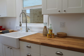 Apron Front Farm Sink And Industrial Faucet In Modern