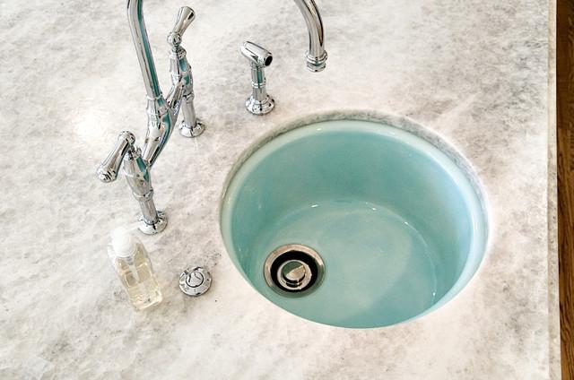 Attractive Aqua Sink Traditional Kitchen