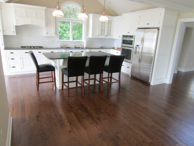 Aquebogue New Construction 3 1 4 Quot Red Oak Installed Stained Special Walnut Traditional Kitchen