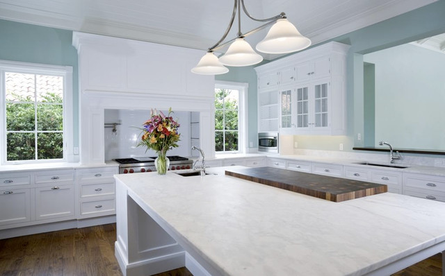 Arabescato Carrara Marble Countertops Traditional Kitchen