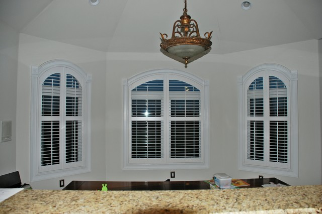 Arched shutters kit traditional kitchen philadelphia by john 39 s window fashions - Plantation shutters kits ...
