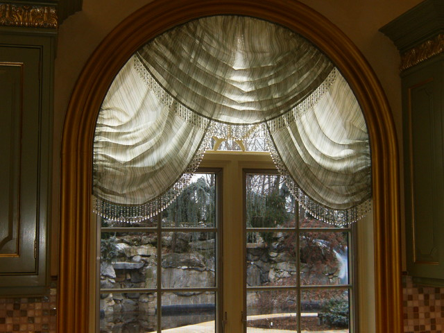 Arched swags for Arched kitchen window treatment ideas