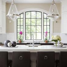 Arched Window with Dark Frame in Kitchen