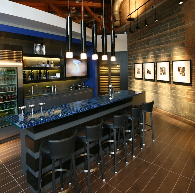 """Contemporary Kitchen Bar: Architectural Glass Surfaces """"Nautical"""""""