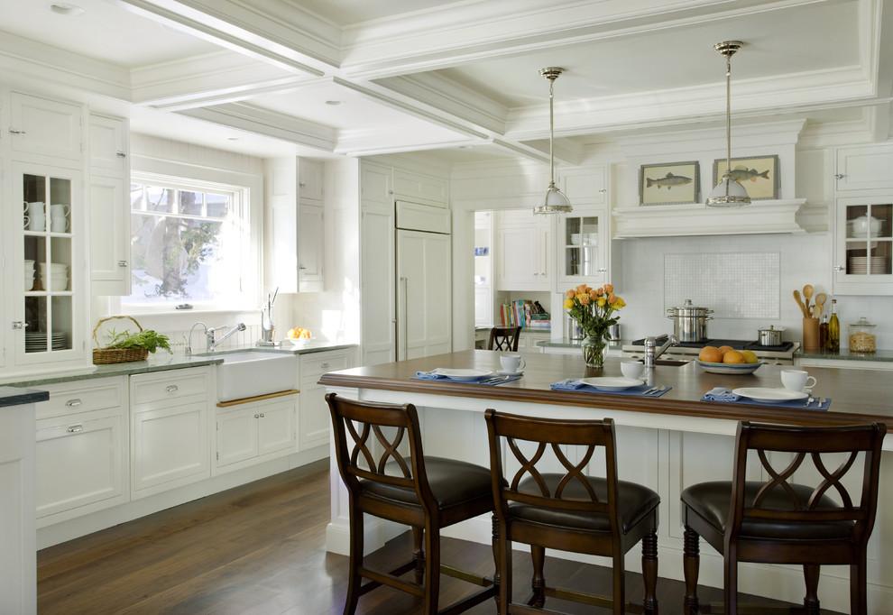 Kitchen - traditional kitchen idea in Boston with a farmhouse sink