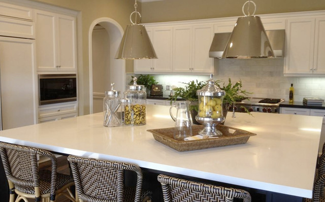 Arctic White Quartz Countertops - Traditional - Kitchen - other metro - by M S International, Inc.