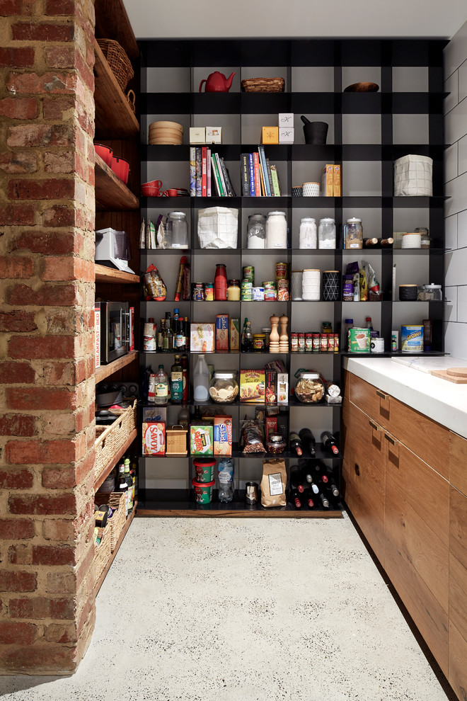 Urban kitchen photo in Melbourne with open cabinets and white backsplash