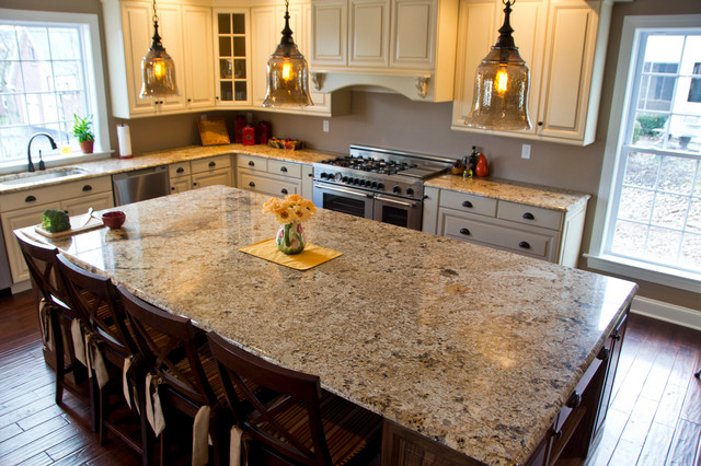 Elegant L Shaped Open Concept Kitchen Photo In Other With An Undermount  Sink, Granite