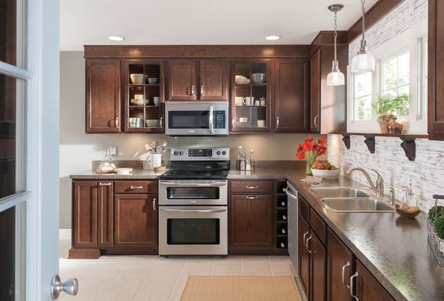 Warm Dark Brown Wood Kitchen Cabinets - Kitchen - other ...