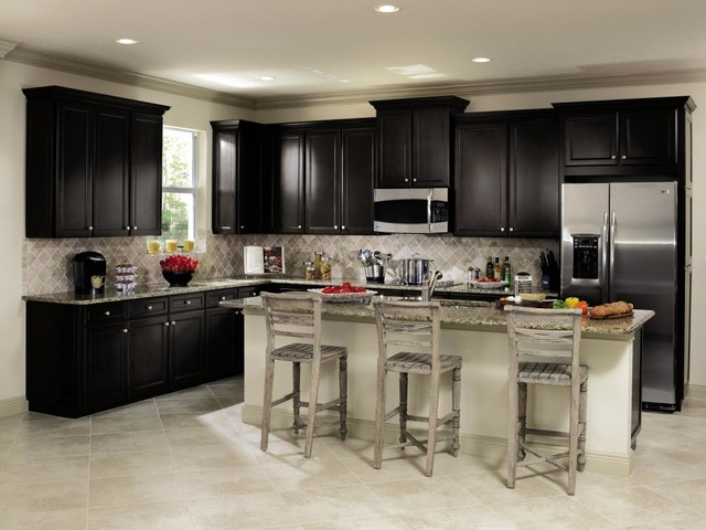 Aristokraft Cabinetry White And Black Kitchen Traditional