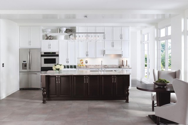 Aristokraft Cabinetry Winstead Maple White Paint Briarcliff Maple Sarsparilla Contemporary