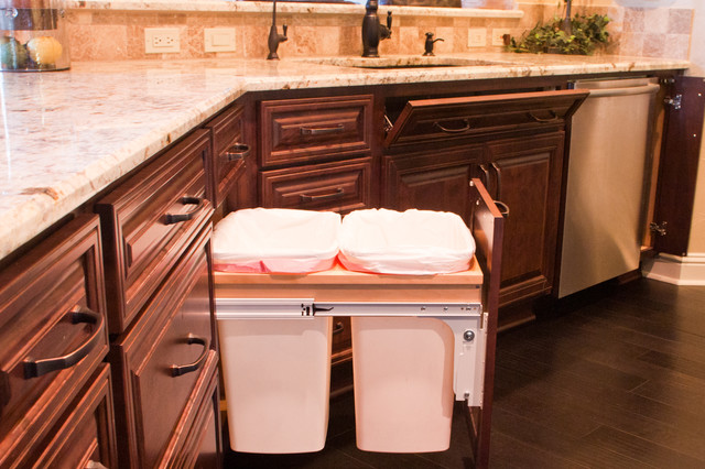 Double Trash, Tilt Out Tray And Cutting Board Storage Traditional Kitchen