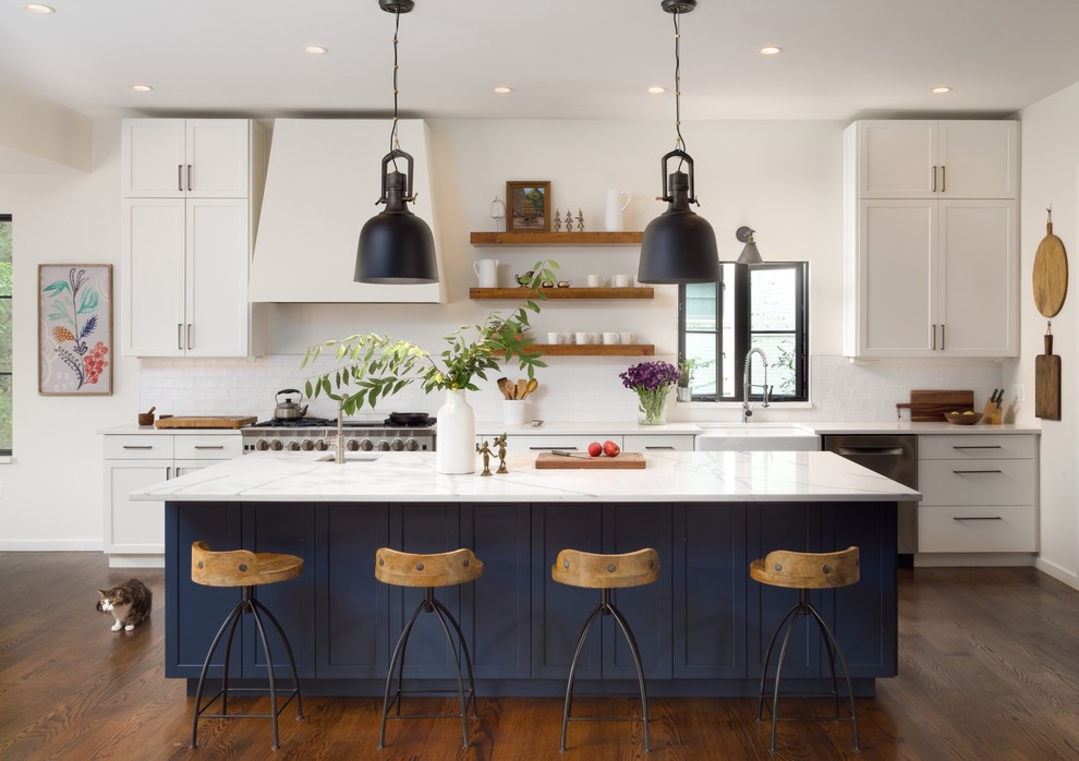 Inspiration for a transitional galley dark wood floor and brown floor kitchen remodel in DC Metro with a farmhouse sink, shaker cabinets, white cabinets, white backsplash, stainless steel appliances and an island