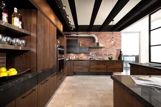 Armoires de cuisine style loft industriel industriel cuisine other metro par armoires - Cuisine style industriel bois ...
