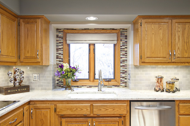 kitchen backsplash oak cabinets example of an eclectic kitchen design in chicago with undermount sink - Golden Oak Kitchen Design Ideas