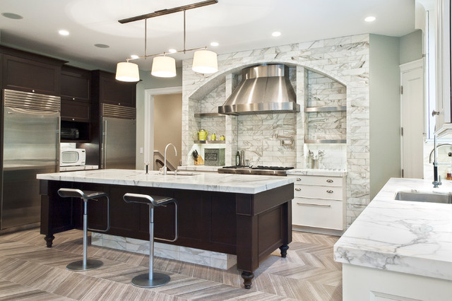 Example Of A Transitional Kitchen Design In Cleveland