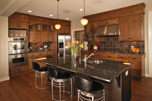 Arts And Crafts Kitchen Photo In Minneapolis With Stainless Steel Liances Slate Backsplash