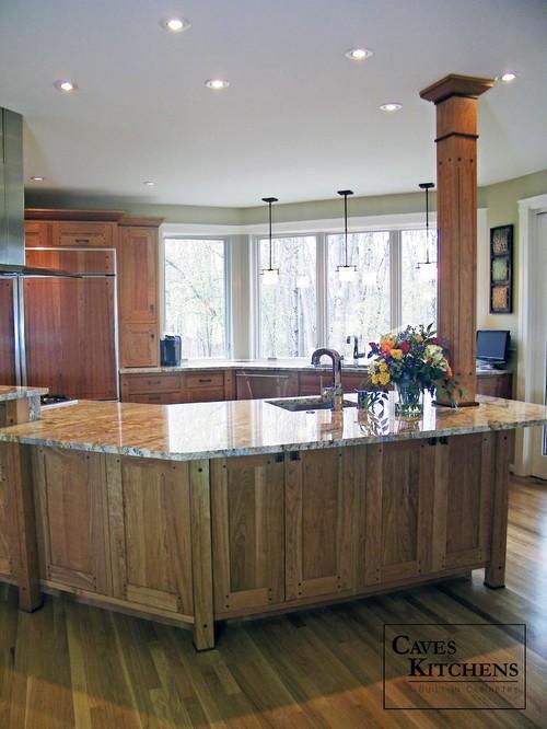 Arts amp Crafts Kitchen With Island Paneled Refrigerator