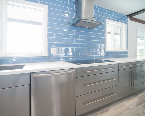 ... In Kitchen Design Photos with an Island and Recycled Glass Countertops