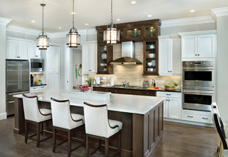 white kitchens with dark accents 2