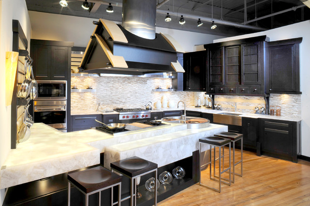 Asian Inspired Wolf Kitchen with Marble Countertops asian-kitchen