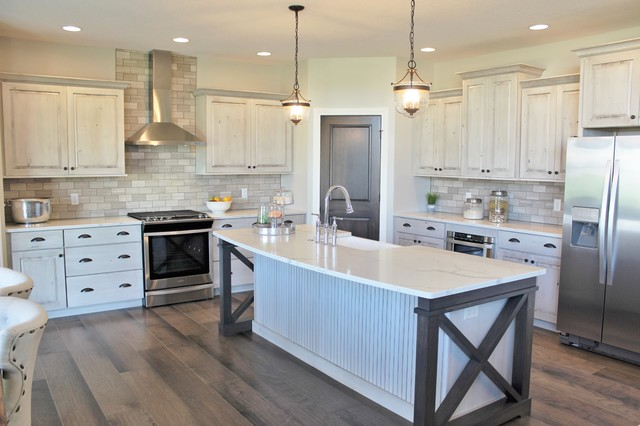 Aspen Homes Antique White Painted Cabinets With Gray Stained Accents Farmhouse Kitchen Other By Village Home Stores