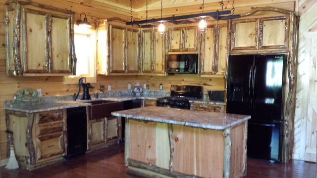 Aspen log cabinets and furniture - Traditional - Kitchen ...