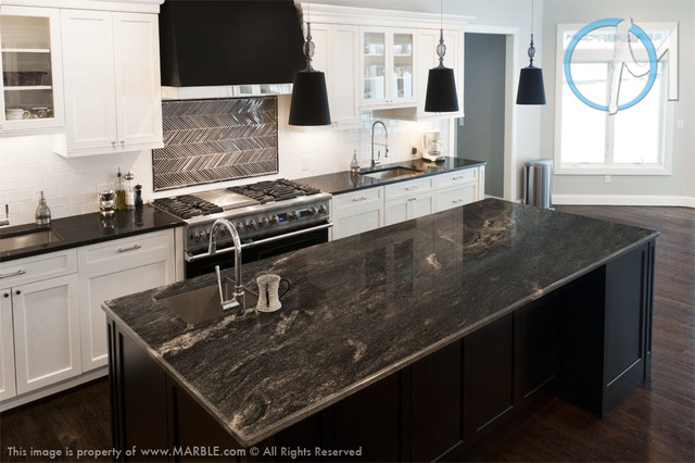Astrus and Absolute Black Leathered Granite Kitchen | Marble.com - Contemporary - Kitchen - new ...