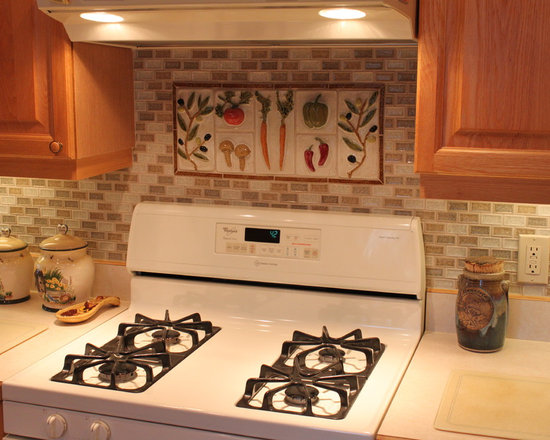 Atkinson Kitchen - Handmade decorative ceramic tile mural with vegetables made by Somi Tileworks.  Commercial field tile.