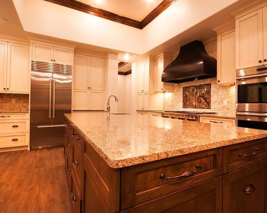 Remodels & Photos with Mosaic Tile Backsplash and Distressed Cabinets