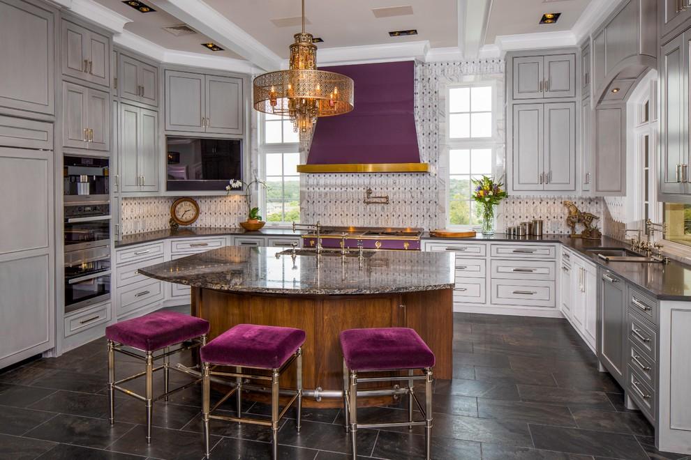 Kitchen - kitchen idea in Austin with multicolored backsplash