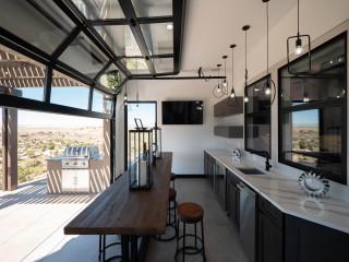 Award Winning Indoor Outdoor Kitchen With Glass Garage Door Contemporary Kitchen Other By David Watkins Home Design Llc