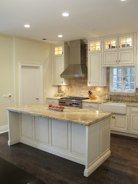 winning kitchen with brick backsplash chicago traditional kitchen