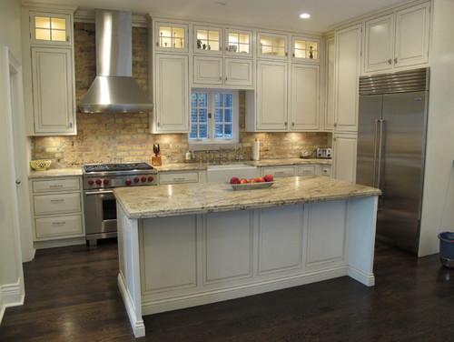 Whitewashed Brick Backsplash White Kitchen Cabinets