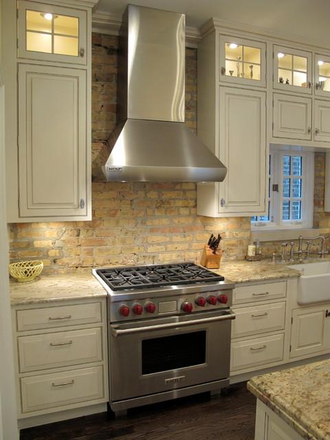 Award Winning Kitchen With Brick Backsplash Chicago Traditional Kitchen Chicago By
