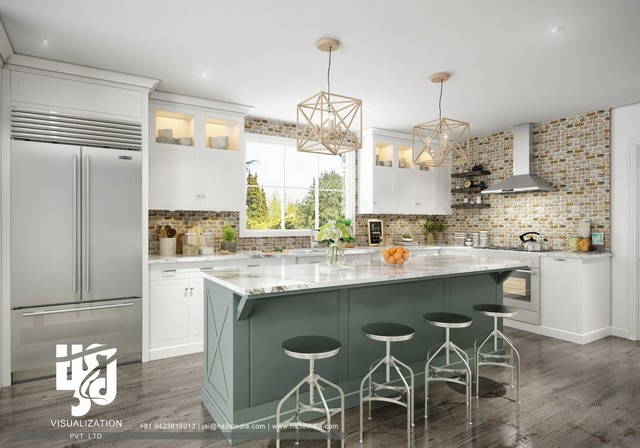 Awesome And Modern Kitchen Design Ideas Photo Realistic 3d Rendering Modern Kitchen Portland Maine By Hs 3d Visualization Pvt Ltd Houzz Au