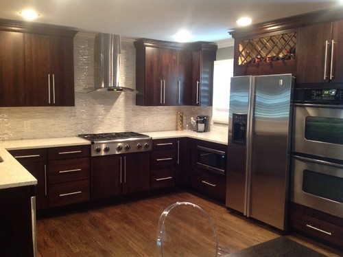 dark oak kitchen cabinets.  Matching Kitchen Cabinets With Dark Oak Hardwood Flooring