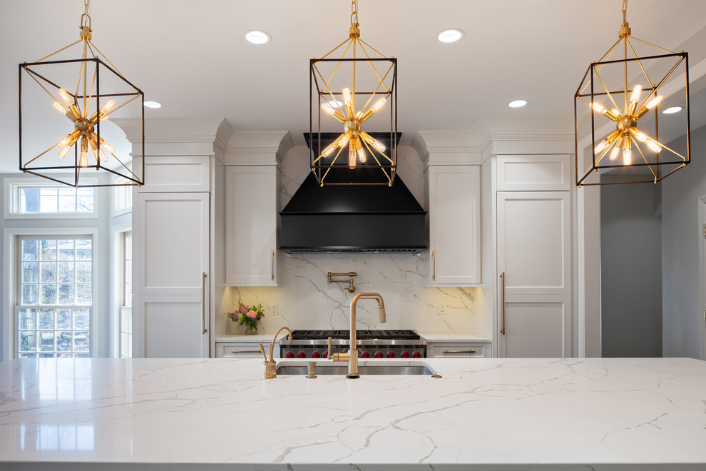 Back Decorative Hood And Ceiling Height White Cabinets Transitional Kitchen Other By Marvista Kitchen Bath