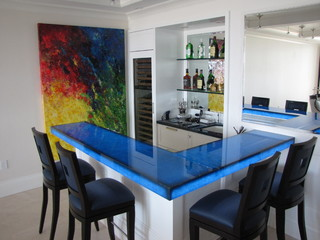 Back Lit Blue Glass Bar Contemporary Kitchen Miami