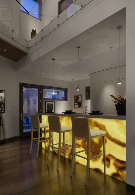 Backlit Onyx Bar Front Modern Kitchen Denver By 186 Lighting Design Group Gregg Mackell
