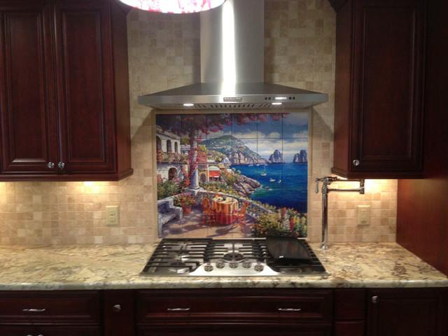 backsplash ideas capri morning tile mural traditional kitchen