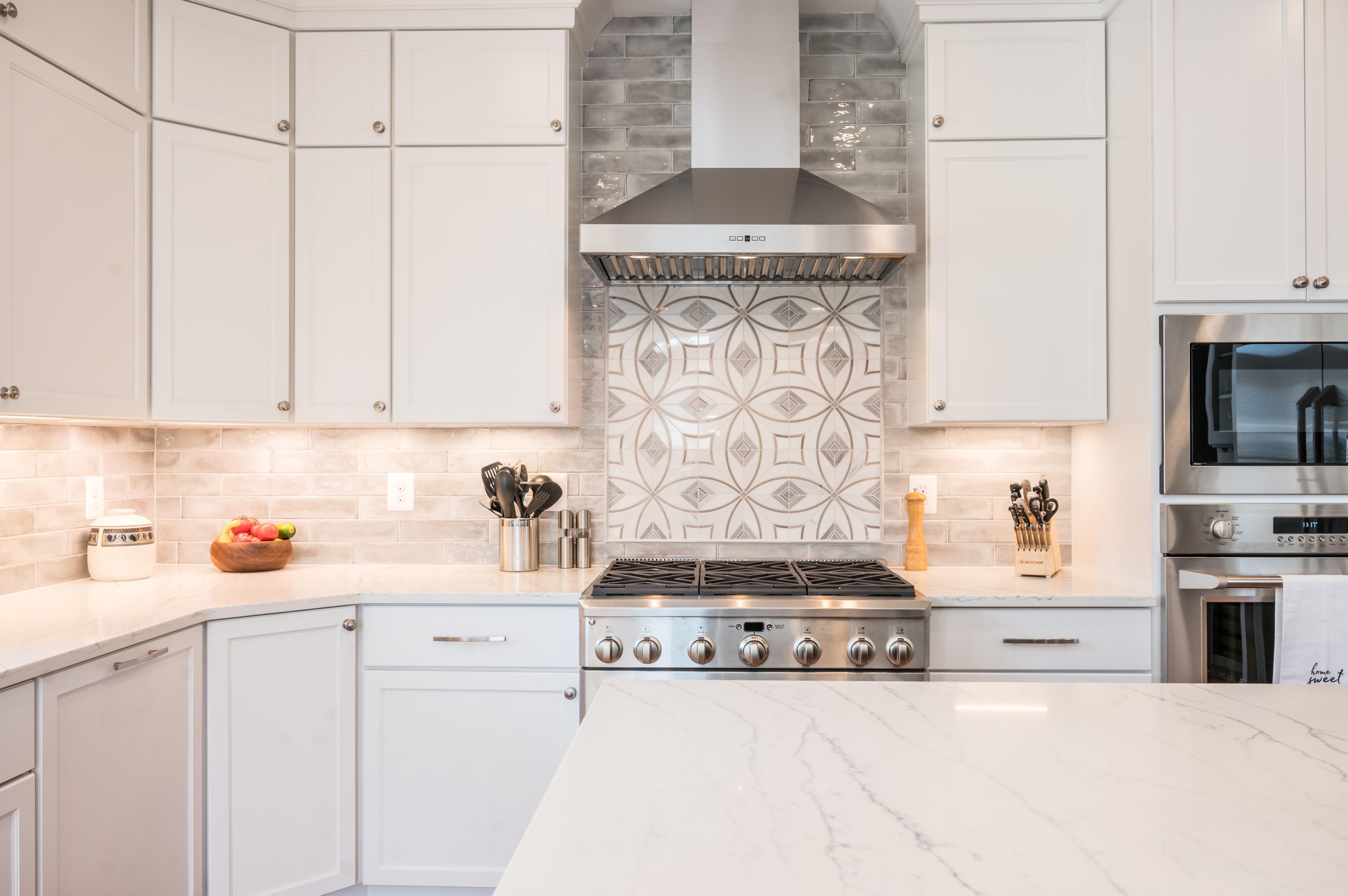 Backsplash tile marble inset with gray subway
