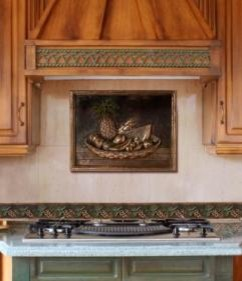 backsplash with metal mural - Traditional - Kitchen - tampa - by American Tile and Stone ...