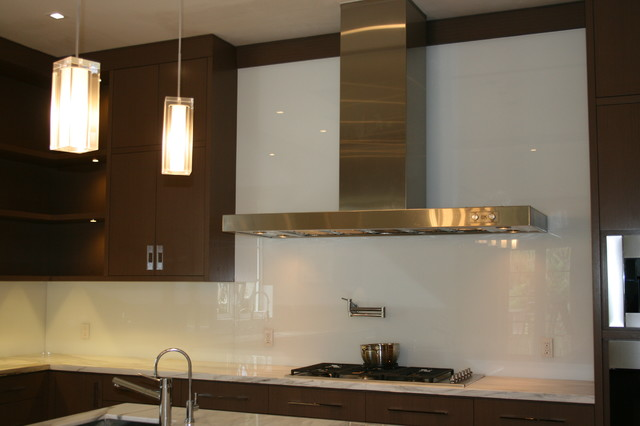 backsplash with tempered white back painted glass contemporary kitchen