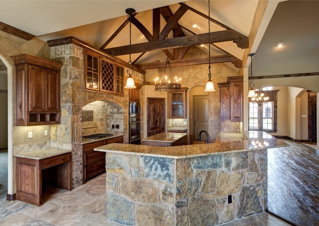 Bailee custom homes rustic kitchen dallas by q for Custom home designs