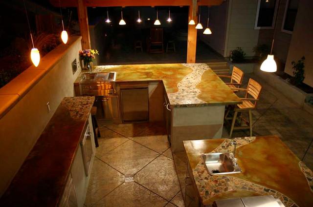Balinese Rainforest Tile Concrete Countertops U0026 Outdoor Exterior Concrete  Tropical Kitchen