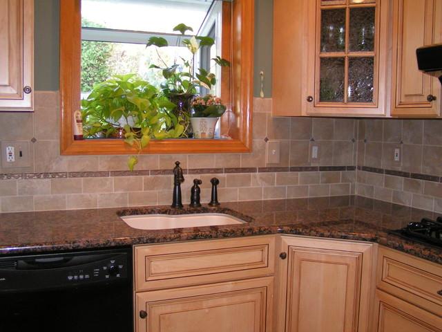 Baltic Brown Granite & Tile Backsplash traditional kitchen